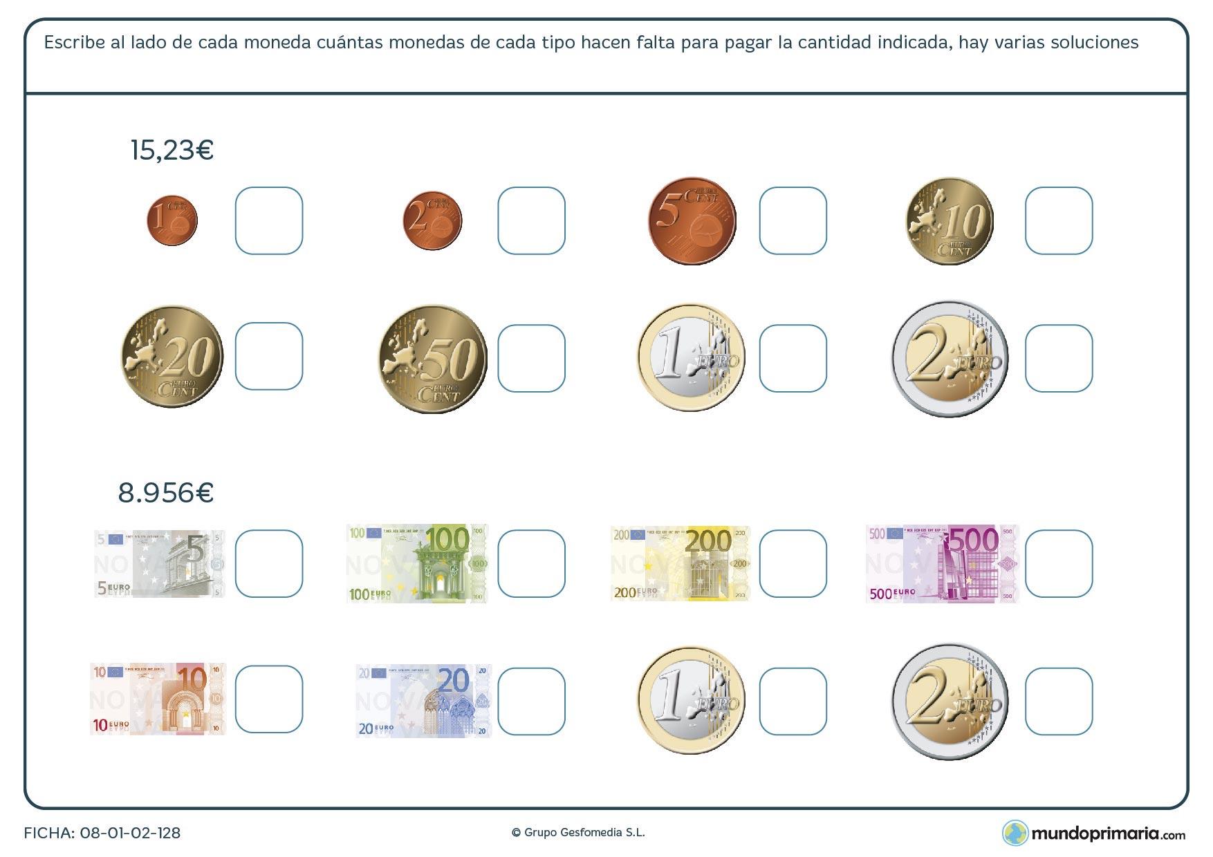 Ficha de utilizar monedas y billetes para obtener una cifra dada.