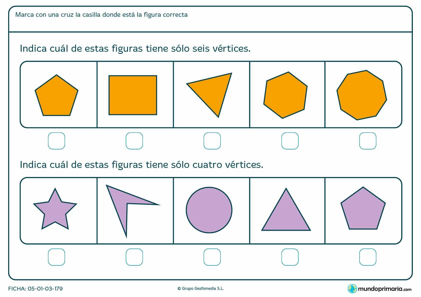 Ficha de vértices geométricos para marcar la figura con el número de vértices que te pedimos.