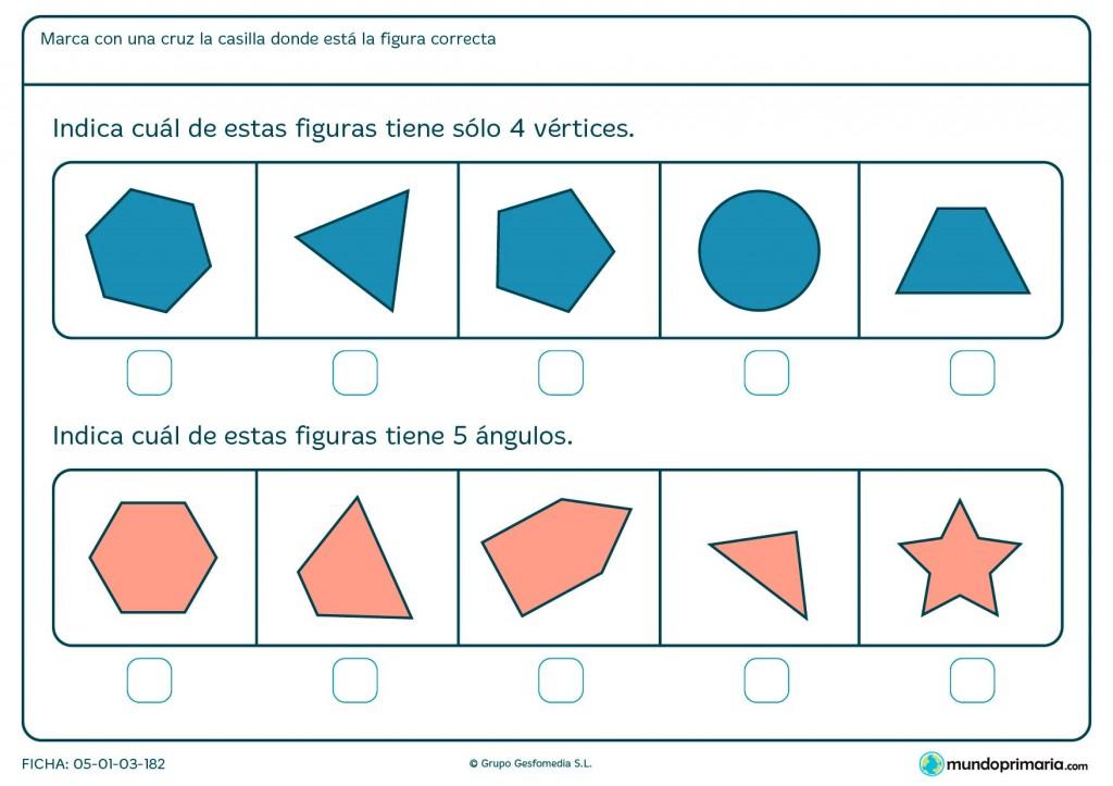 Ficha de vértices y ángulos para primaria geométricos