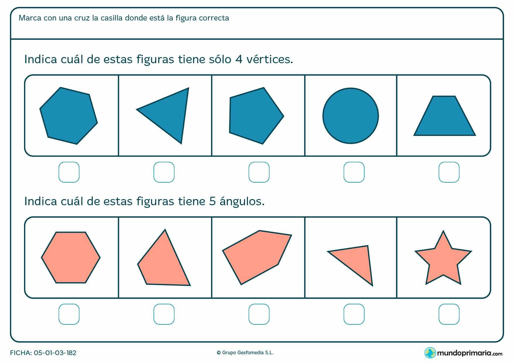 Ficha de vértices y ángulos geométricos para sumar sus ángulos y vértices y averiguar así la respuesta correcta.