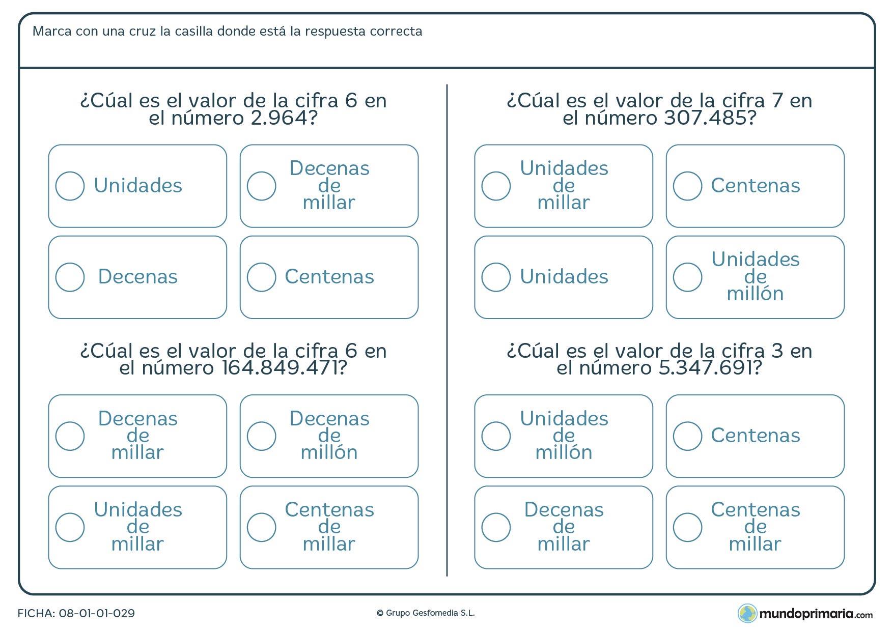 Ficha de valor de una cifra en una cantidad grande en la que debes indicar el valor de la cifra dentro de un número grande.