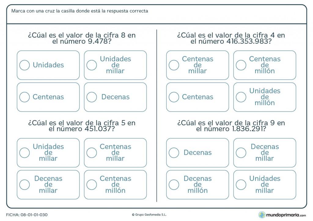 Ficha de valor en un número grande de una cifra para niños de primaria