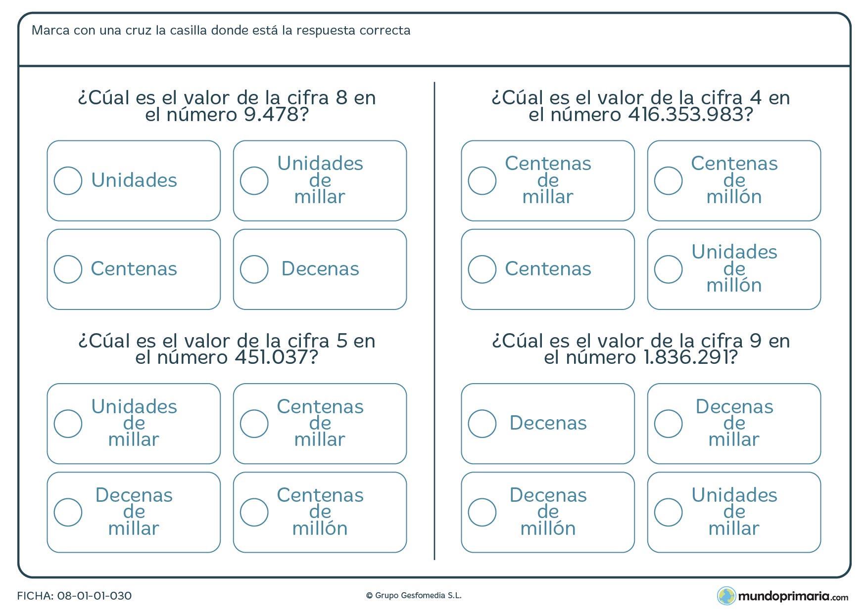 Ficha de valor, en un número grande, de una cifra que te indicamos y en la que habrás de marcar la respuesta correcta entre 4 posibles.