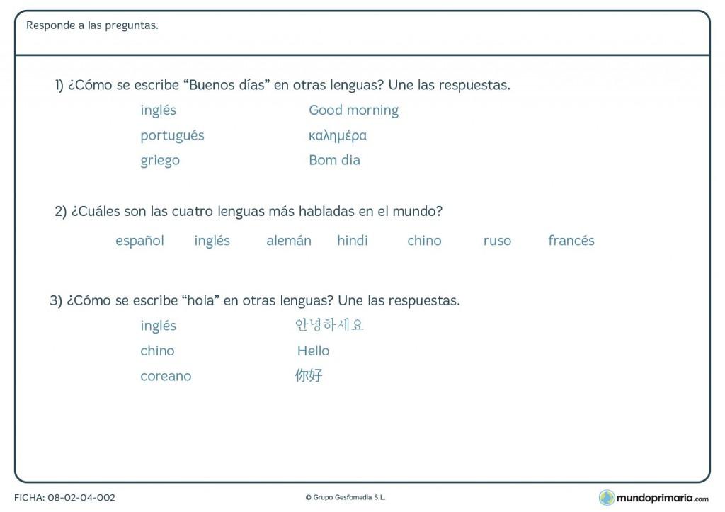 Ficha de variedad lenguas para primaria