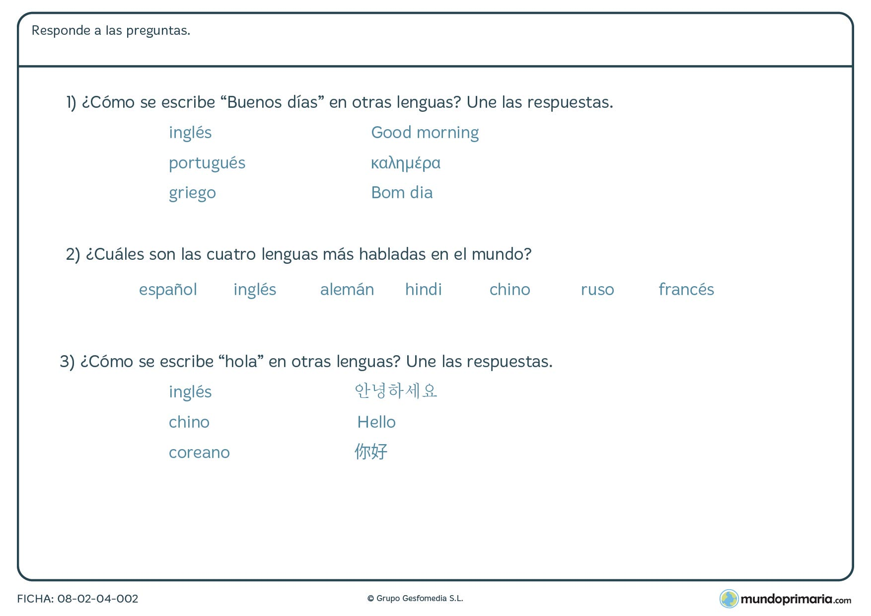 Ficha de variedad lenguas con varias preguntas para rsponder eligiendo las opciones adecuadas.