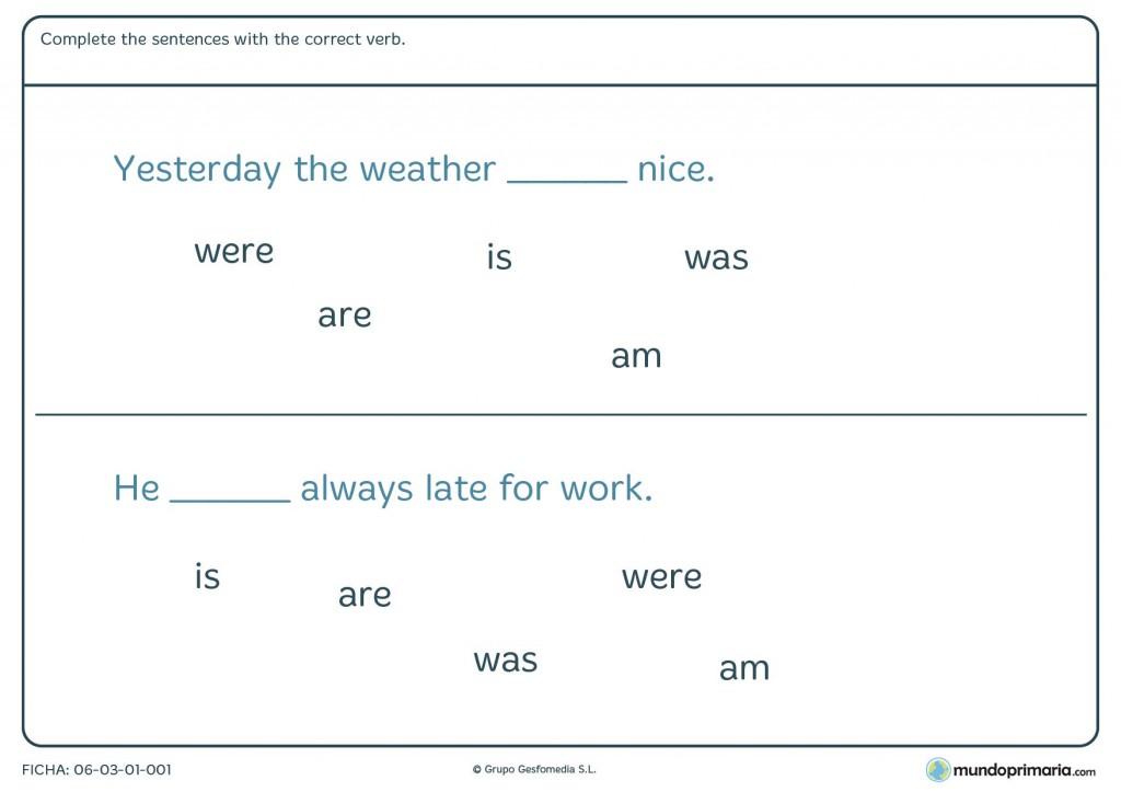 Ficha de verbos en inglés para primaria