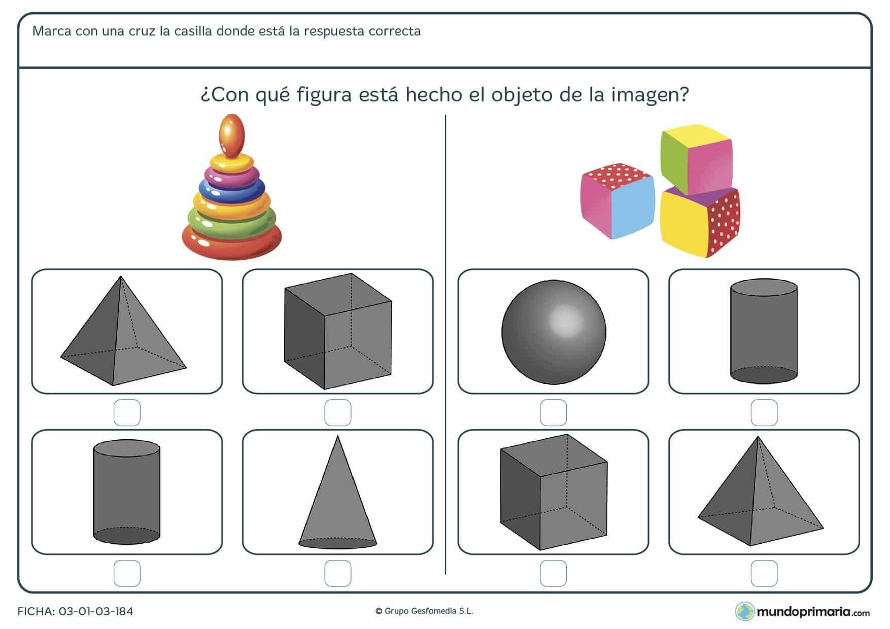 Ficha de volúmenes con ejercicios para diferenciar conceptos en primaria
