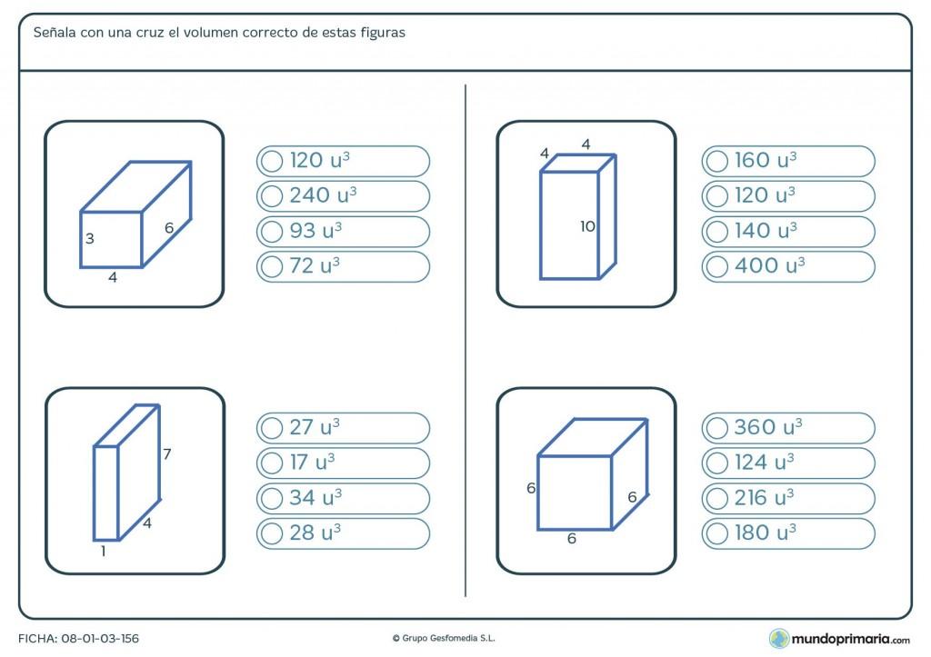 Ficha de volumen de figuras para niños de 6º de primaria