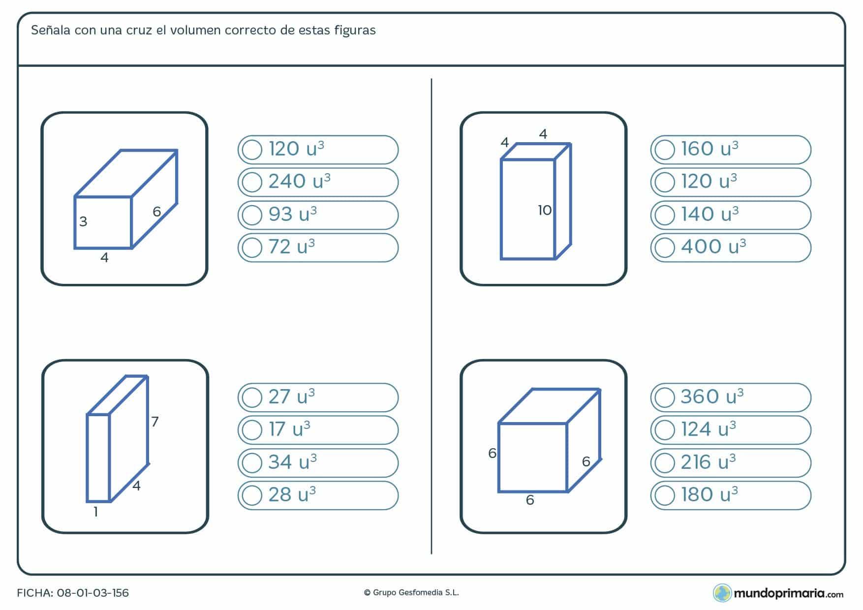 Ficha de volumen de figuras geométricas en las que te damos como datos las medidas de 3 de sus aristas.