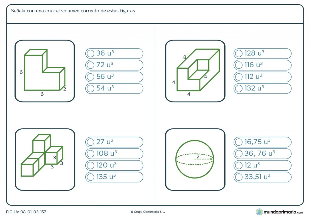 Ficha de volumen geométrico para primaria