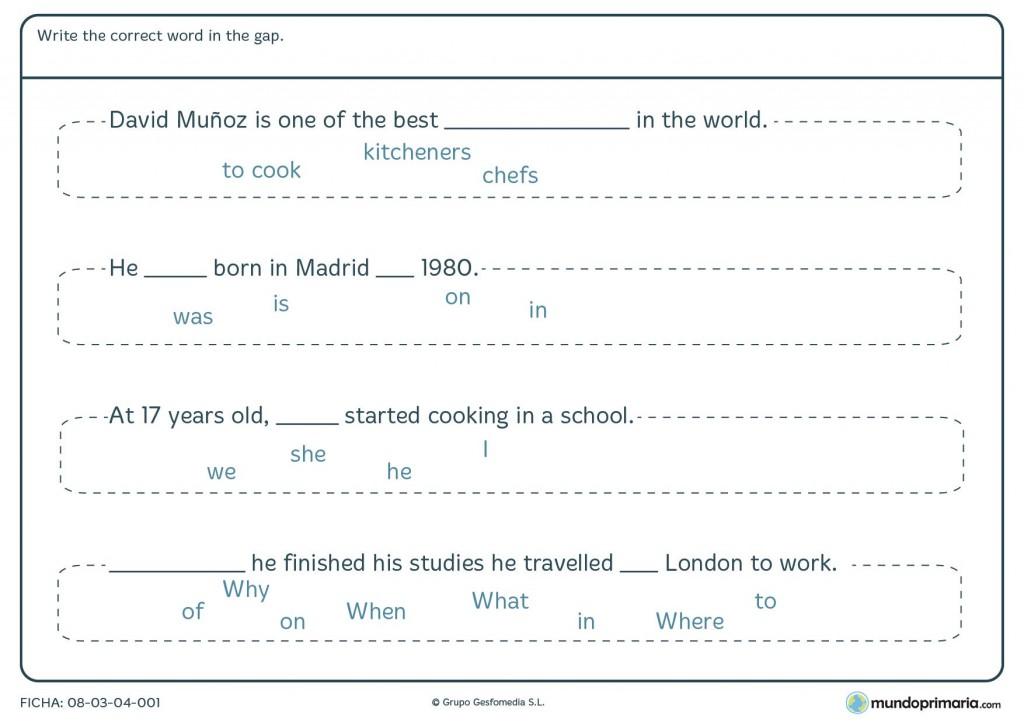 Ficha de write the correct word in the gap para primaria