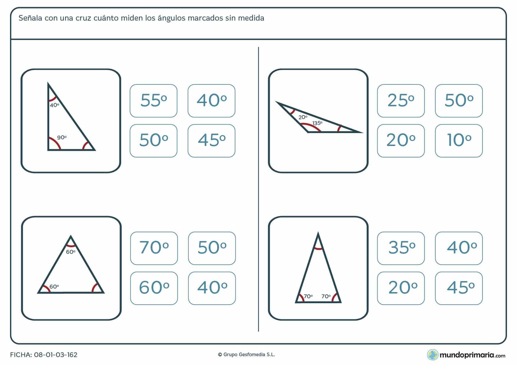 Ficha del ángulo correcto. Halla el ángulo que falta sin medida de los triángulos de las imágenes.
