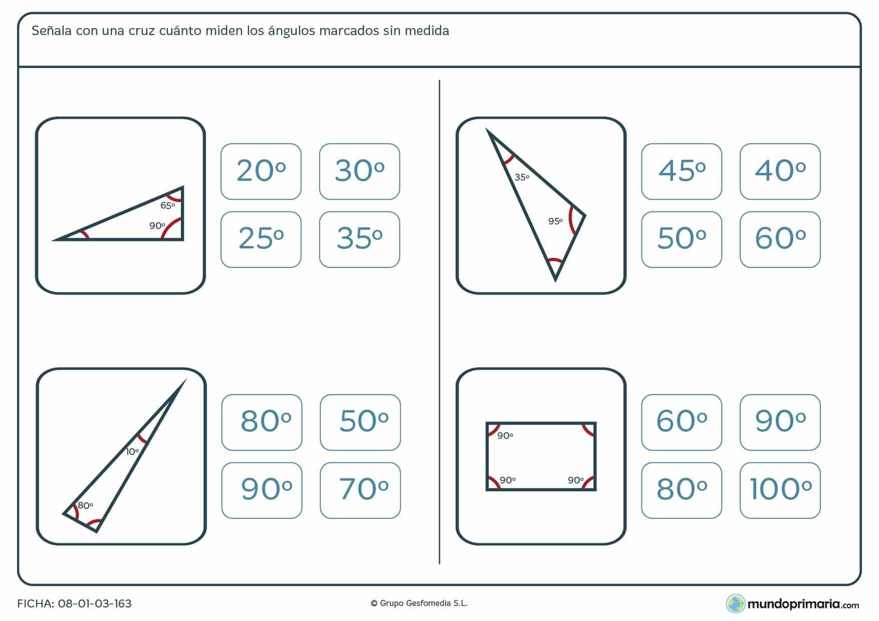 Ficha del ángulo marcado, en la que partiendo de los ángulos marcados con medida has de hallar el que no la tiene.