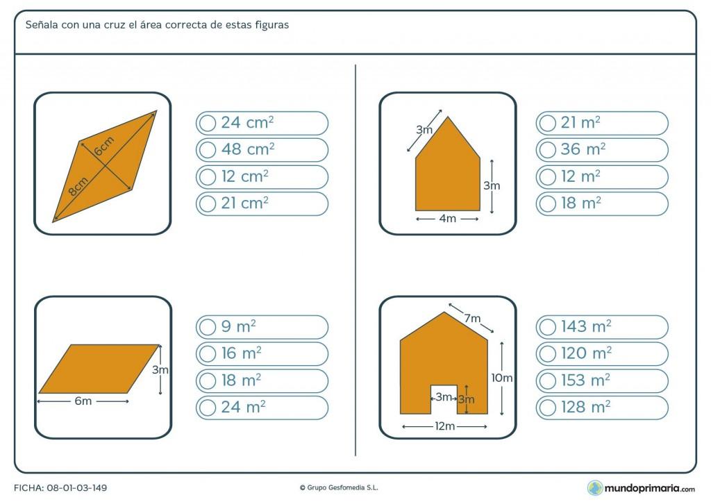 Ficha del área de polígonos para sexto de primaria