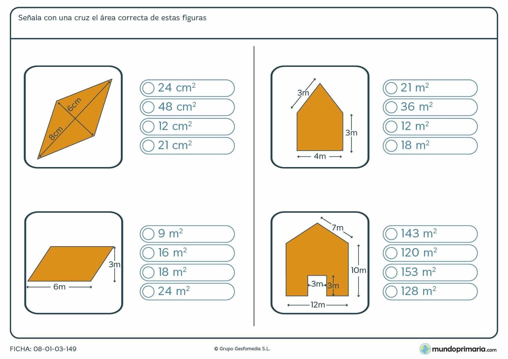Ficha del área de polígonos en la que deberás marcar el resultado correcto sobre el área de las figuras.