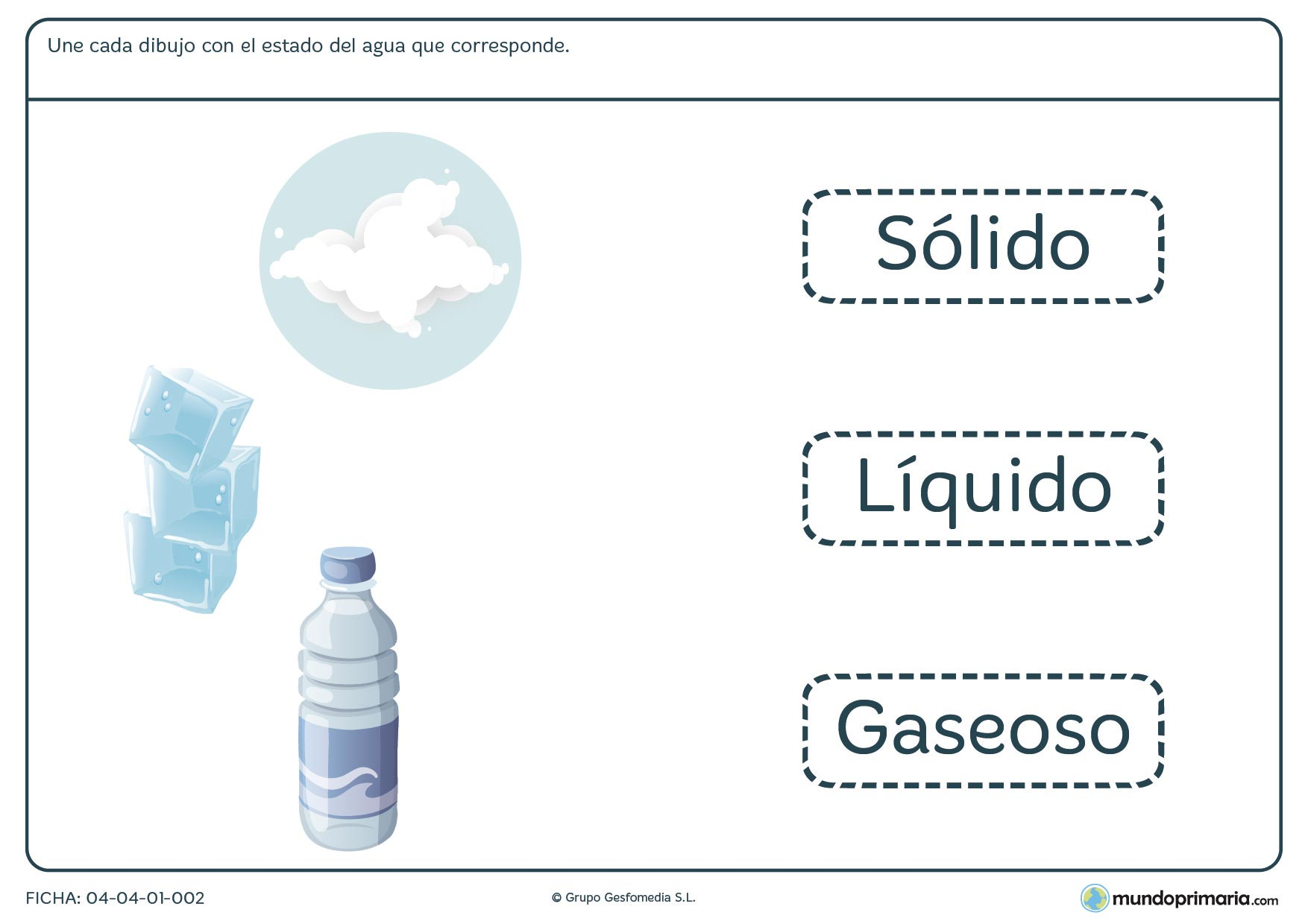 Ficha del agua y sus formas según la temperatura en la que tienes que relacionar un dibujo con su estado.