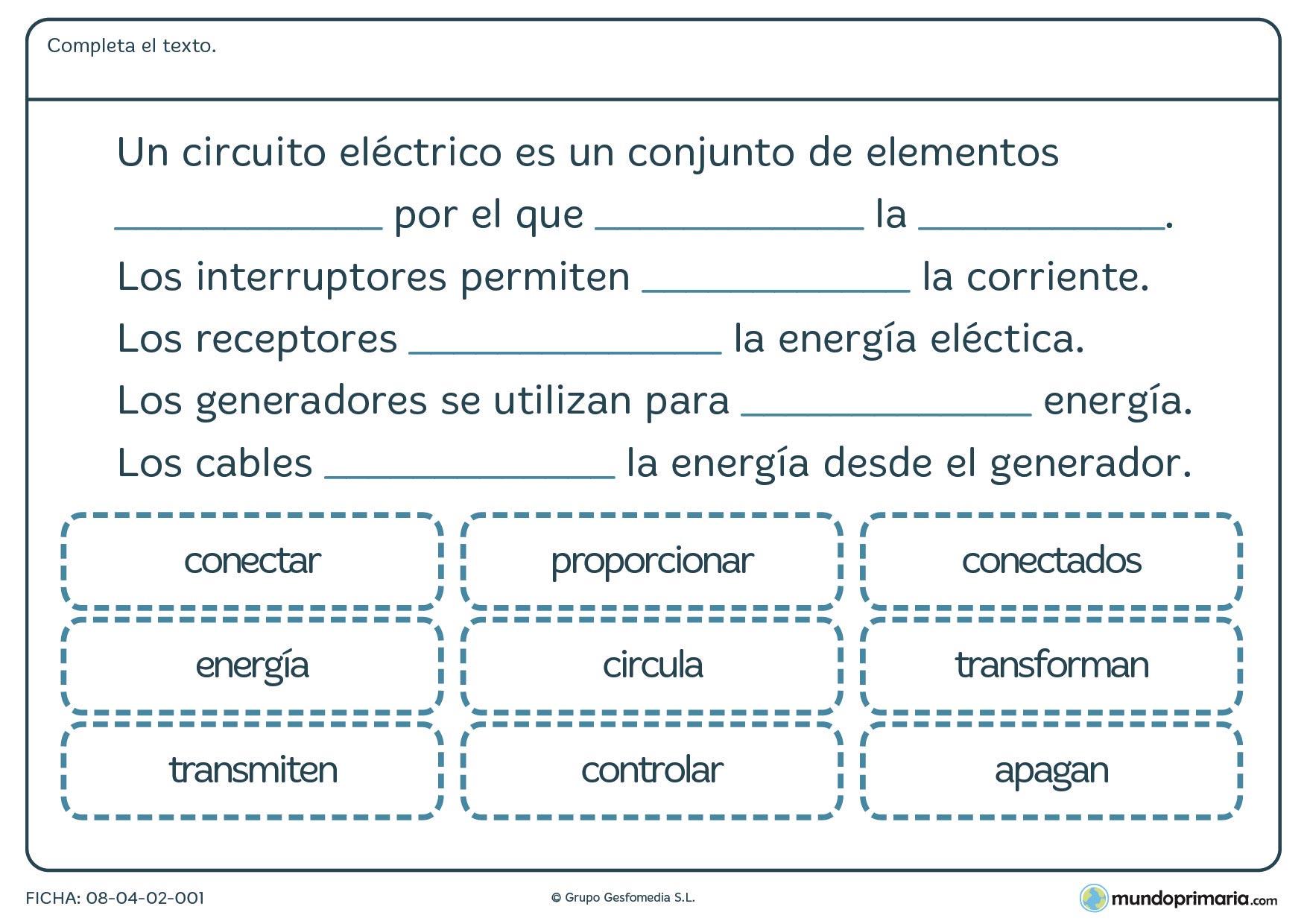 Circuito Juegos Para Niños : Ficha del circuito eléctrico para primaria