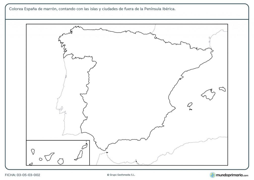 Ficha del mapa de España para primaria