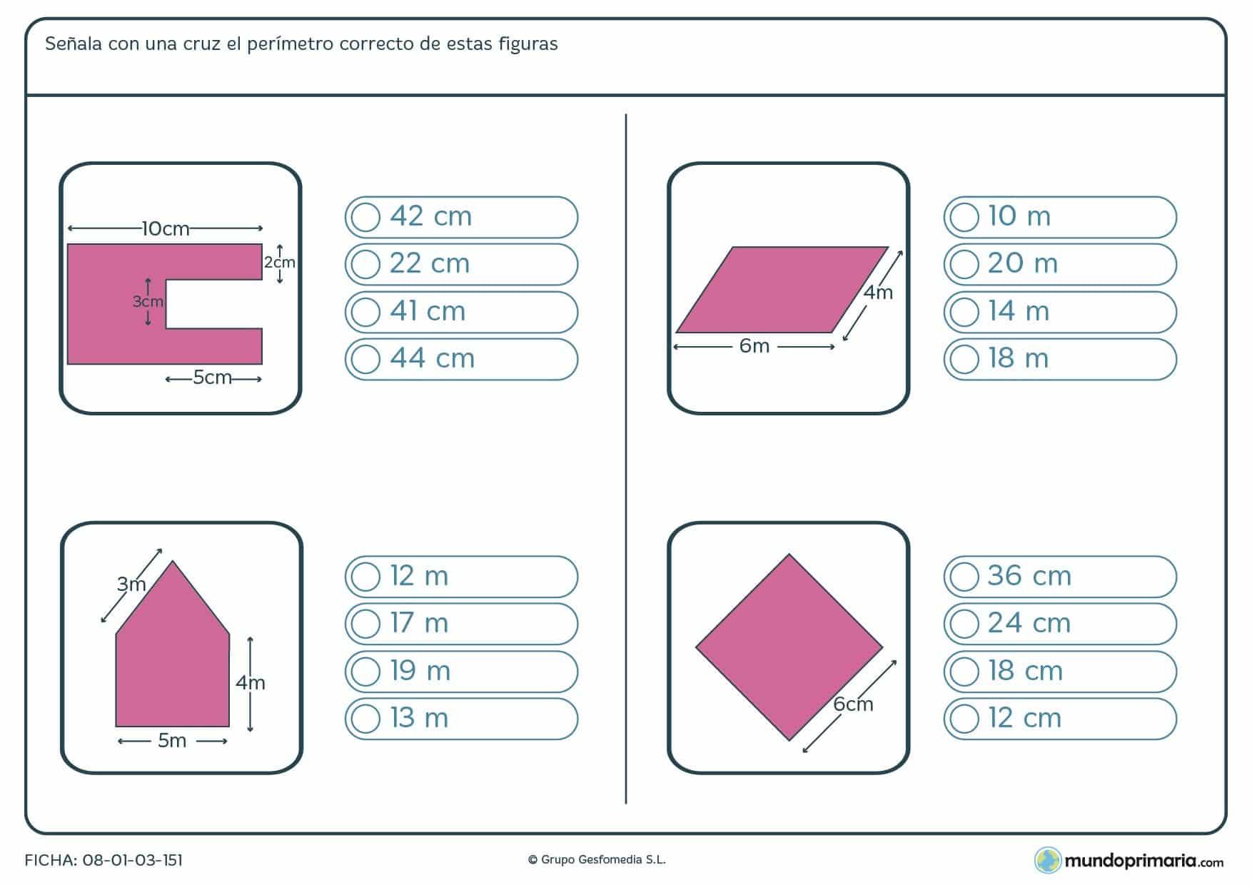 Ficha del perímetro correcto partiendo de varios datos con los que hallaras el resultado final.