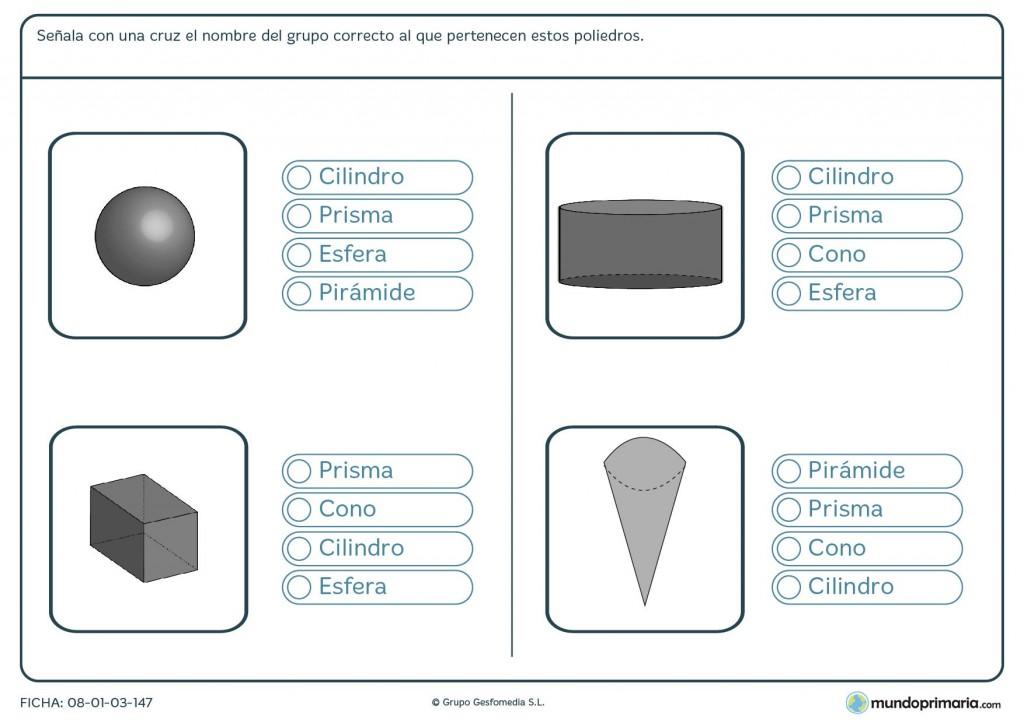 Ficha del poliedro correcto para niños de 6º de primaria