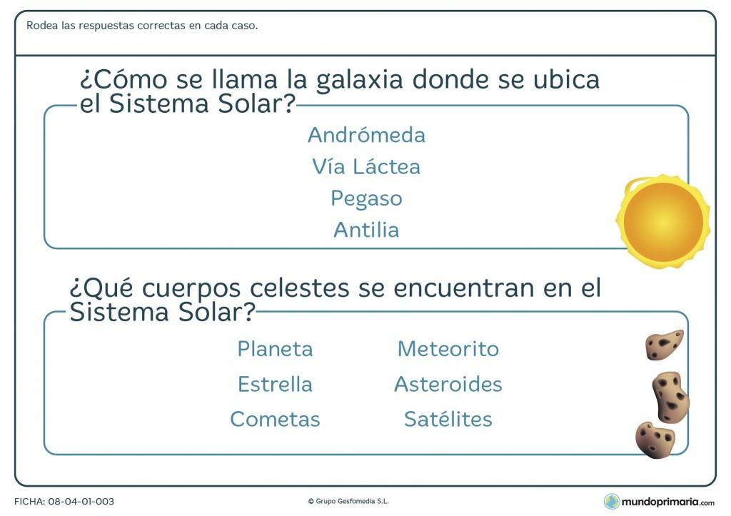 Ficha del sistema solar para primaria