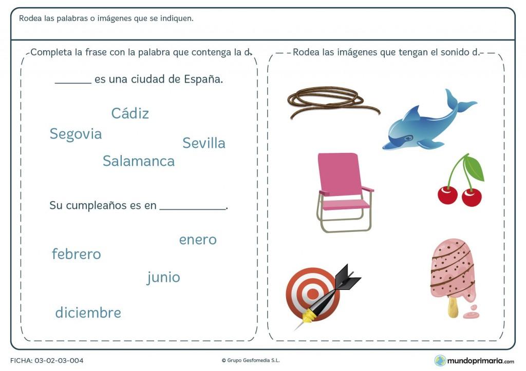 Ficha sobre la letra D para primaria