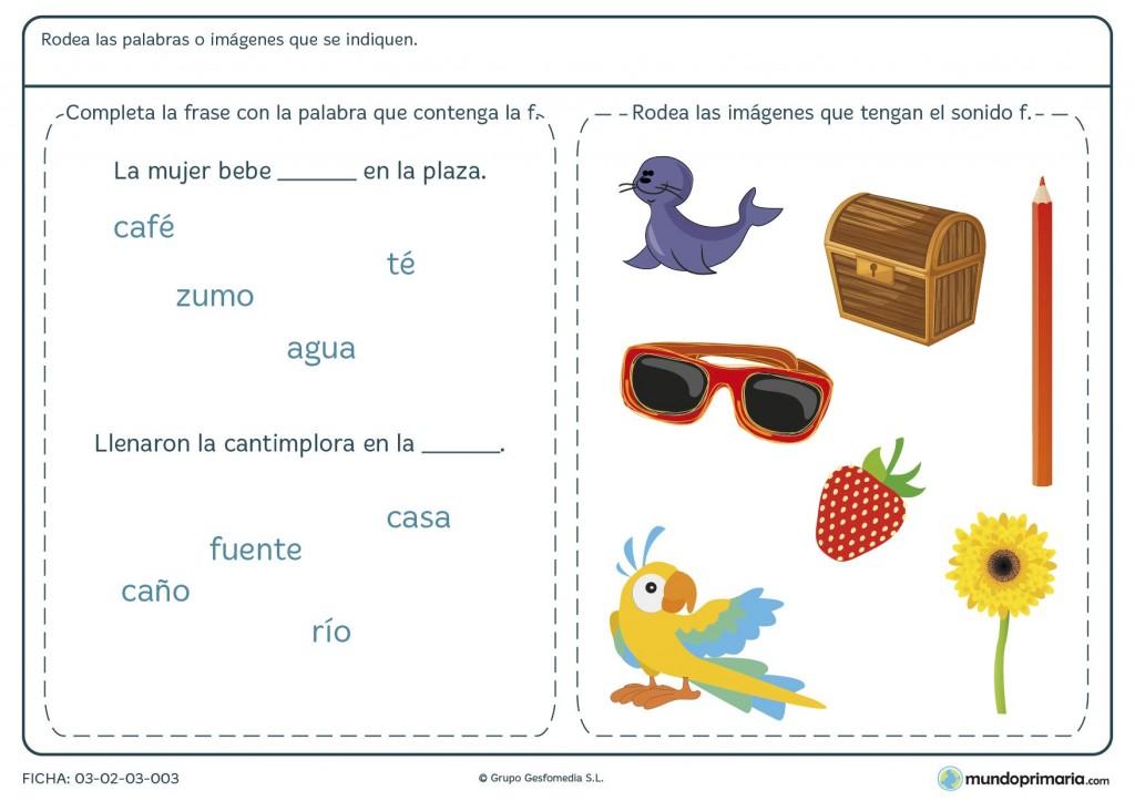 Ficha sobre la letra F para primaria