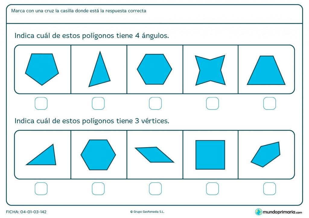 Ficha sobre vértices y ángulos para niños de primaria