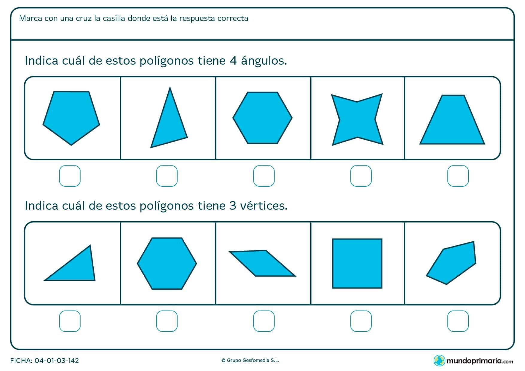 Ficha sobre vértices y ángulos para contarlos en los polígonos y señalar en la ficha las figuras que se corresponden con ellos.