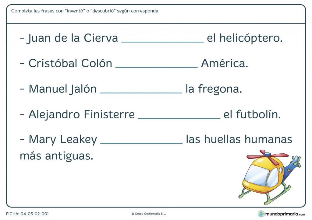 Fichas de inventos y descubrimientos para primaria