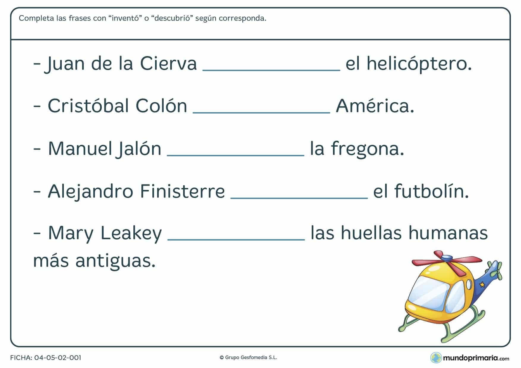 Fichas de inventos y descubrimientos en la que has de escribir el término descubrió o inventó, según corresponda.