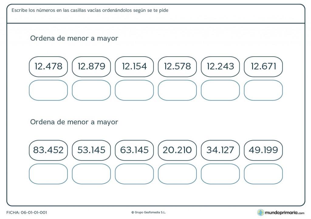 Fichas para ordenar números para primaria