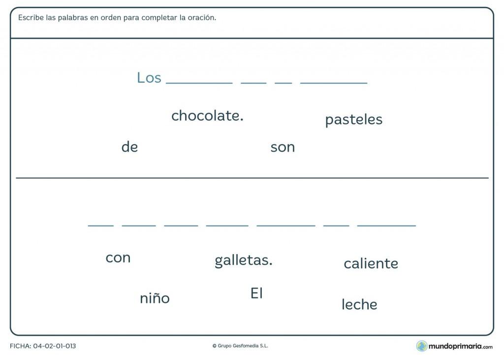 Ficha de añadir palabras para formar la frase para primaria