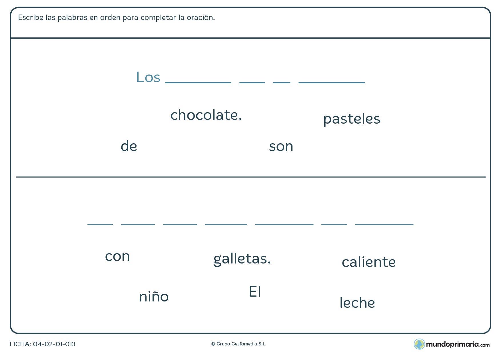 Añade las palabras para formar la frase correcta con esta ficha para niños de 7 a 8 años