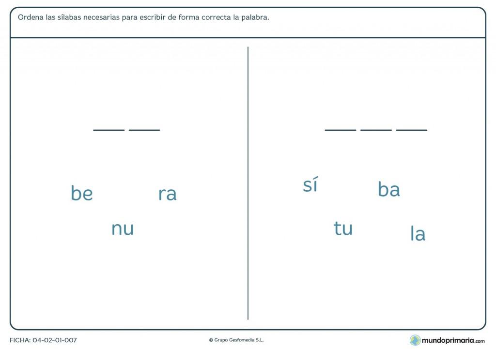 Ficha de añadir sílabas para primaria