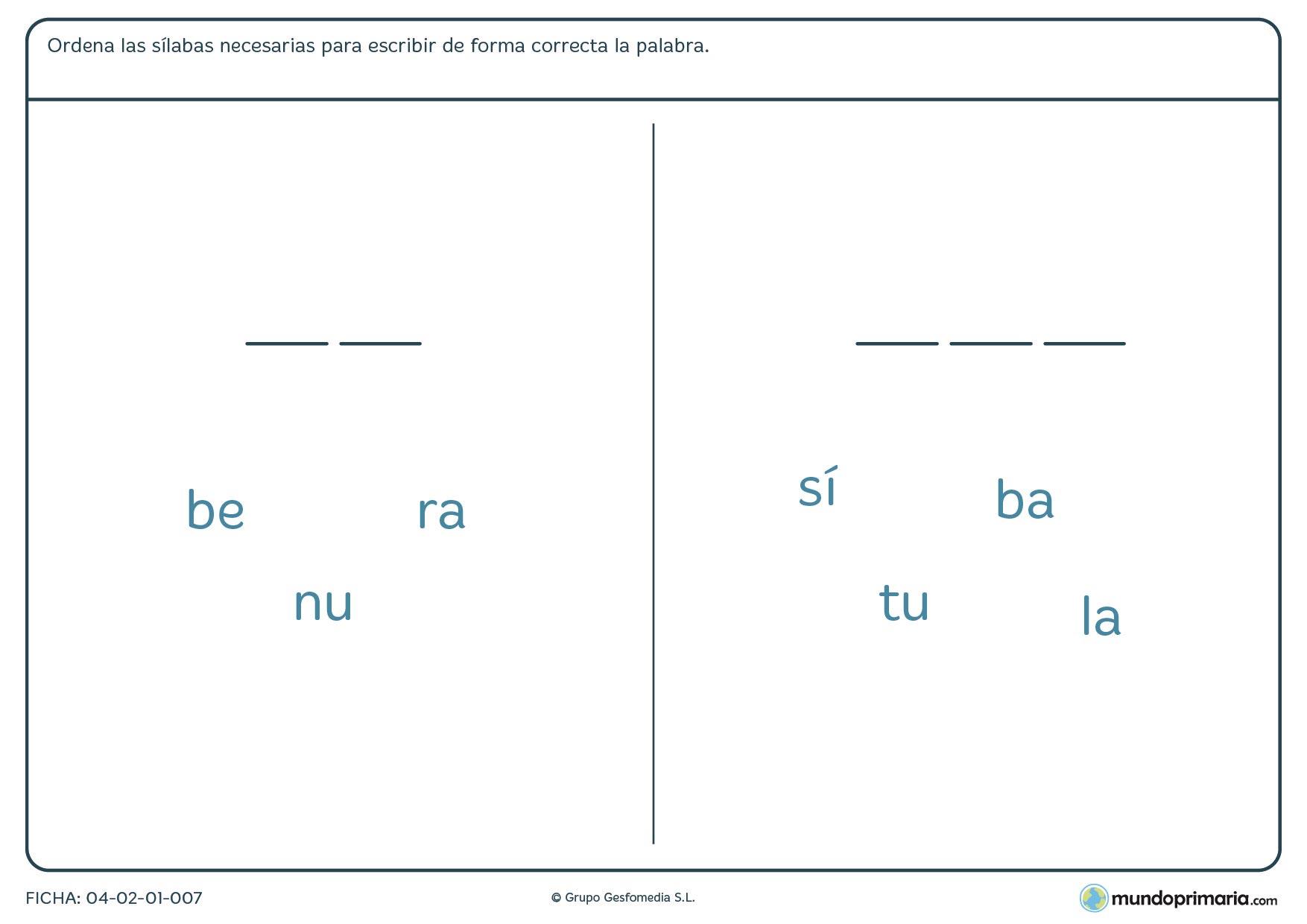Añade las sílabas correctas para formar palabras con esta ficha para niños de 7 a 8 años