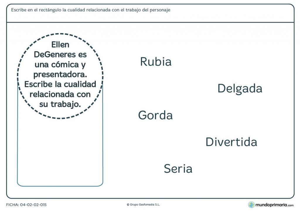 Ficha de agrupar el empleo y su característica para primaria