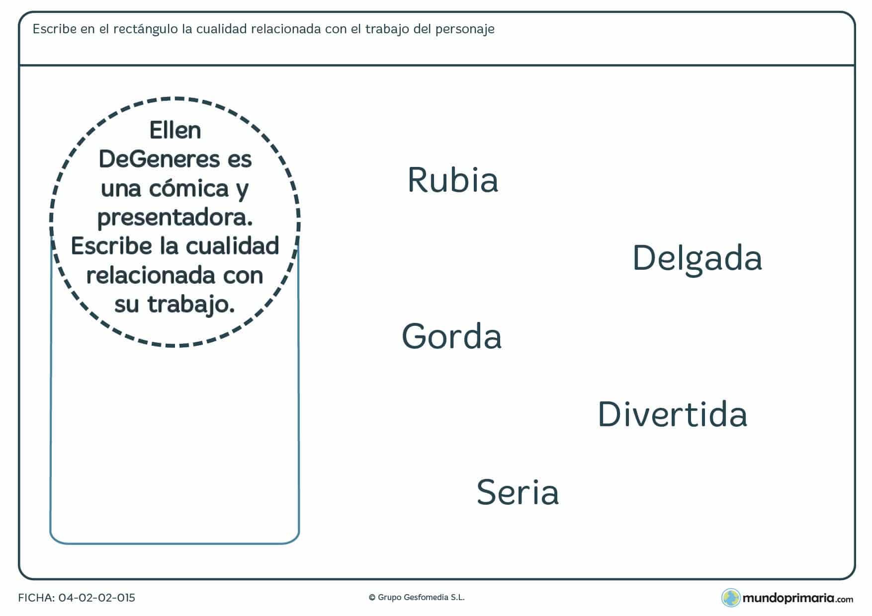 Ficha para niños de primaria de agrupar el empleo con la característica en la que tendrás que relacionar alguno de los adjetivos dados con la descripción de un personaje.