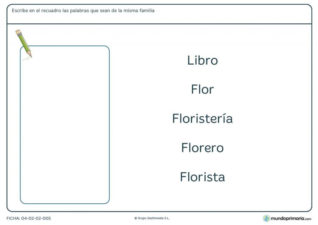 Ficha de aprender familias de palabras para primaria