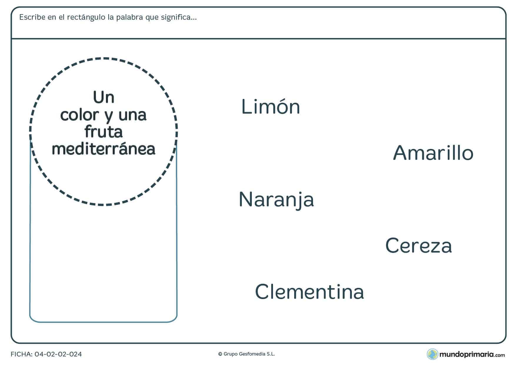 Ficha de niños de 7 a 8 años de aprender palabras y su significado en la que tendrás que relacionar alguna de las palabras dadas con la descripción que aparece en el círculo.