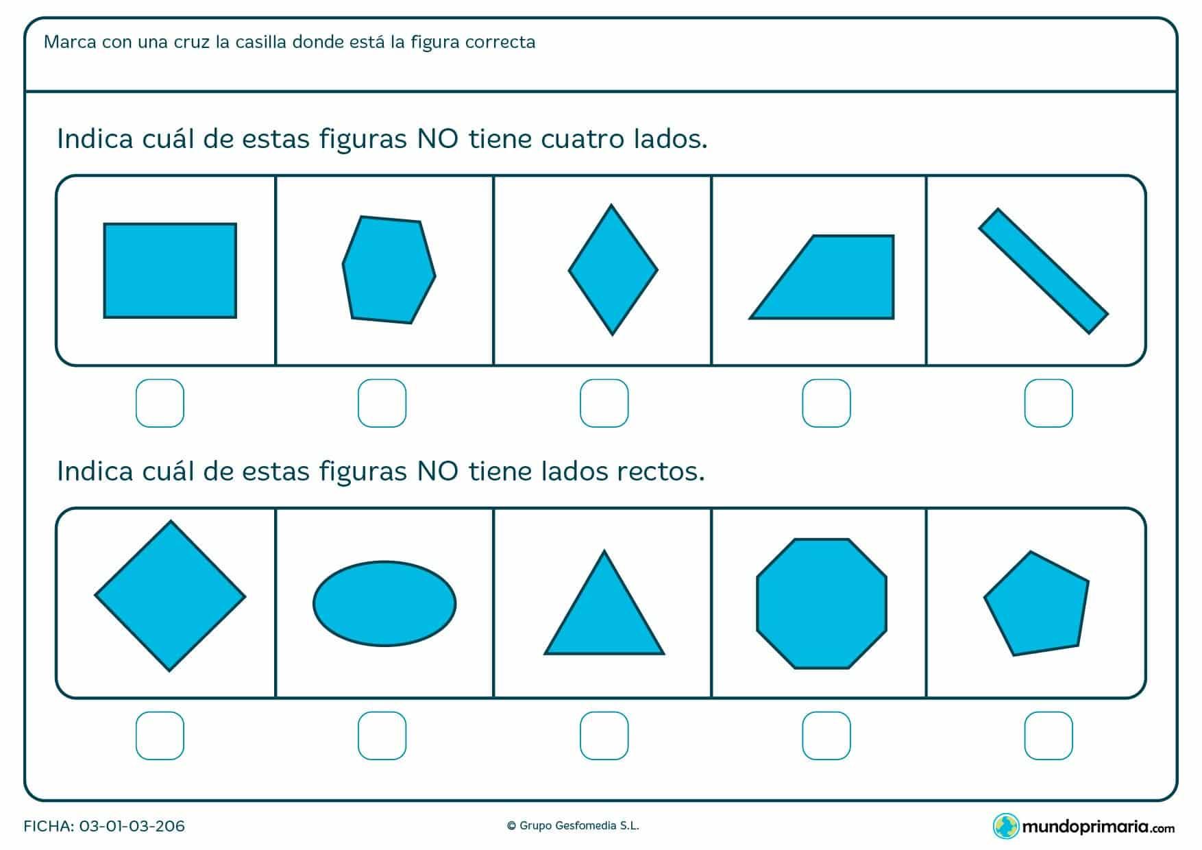 Ficha de bordes rectos para que los niños de primero de primaria aprendan a diferenciar figuras de distintos números de lados.