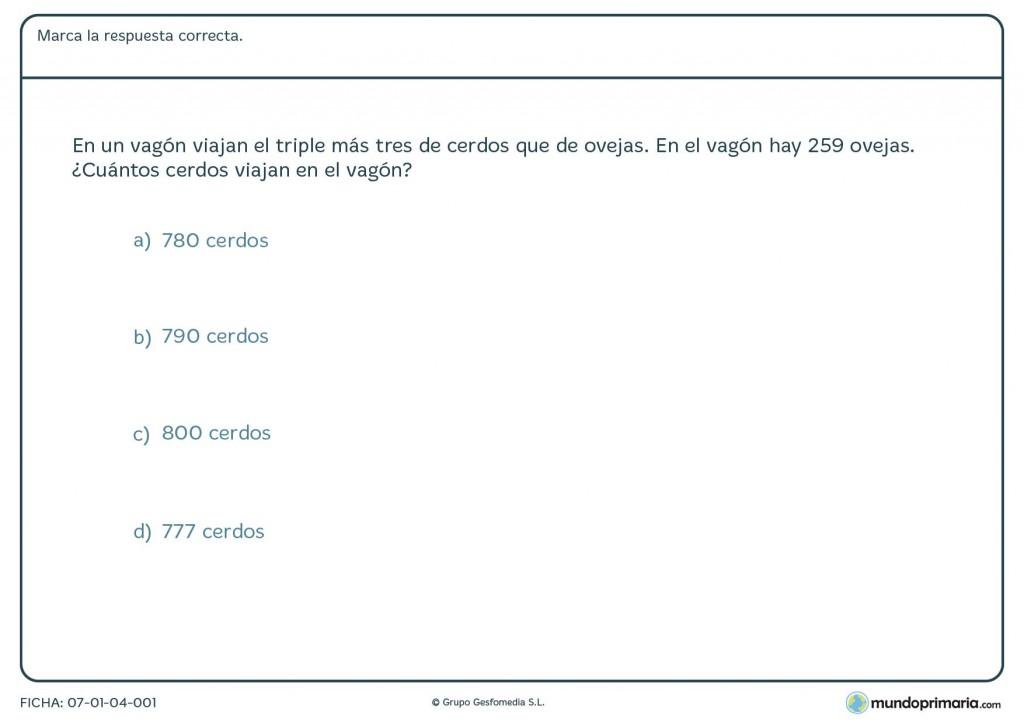 Ficha de cantidad de animales para primaria