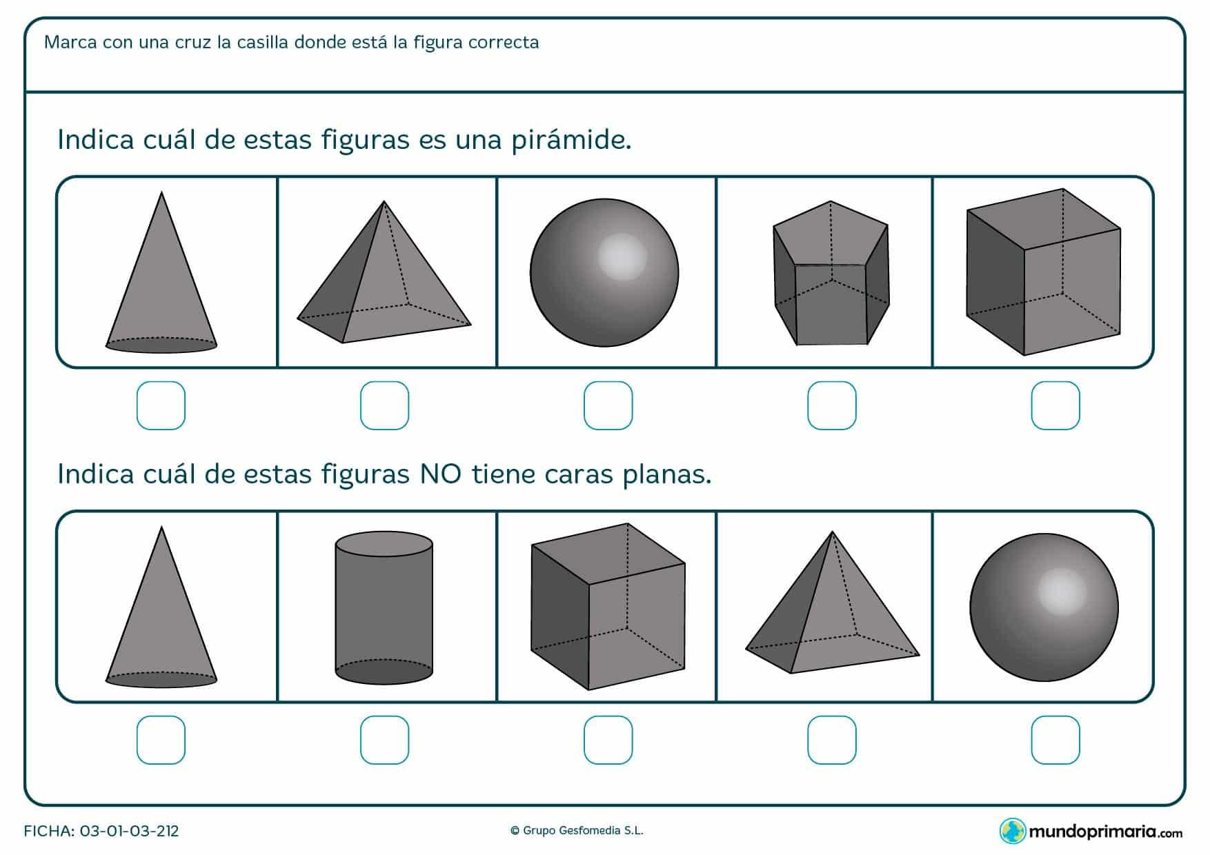 Ficha de caras planas para diferenciar varias figuras de caras planas o curvas para niños de primero de primaria.