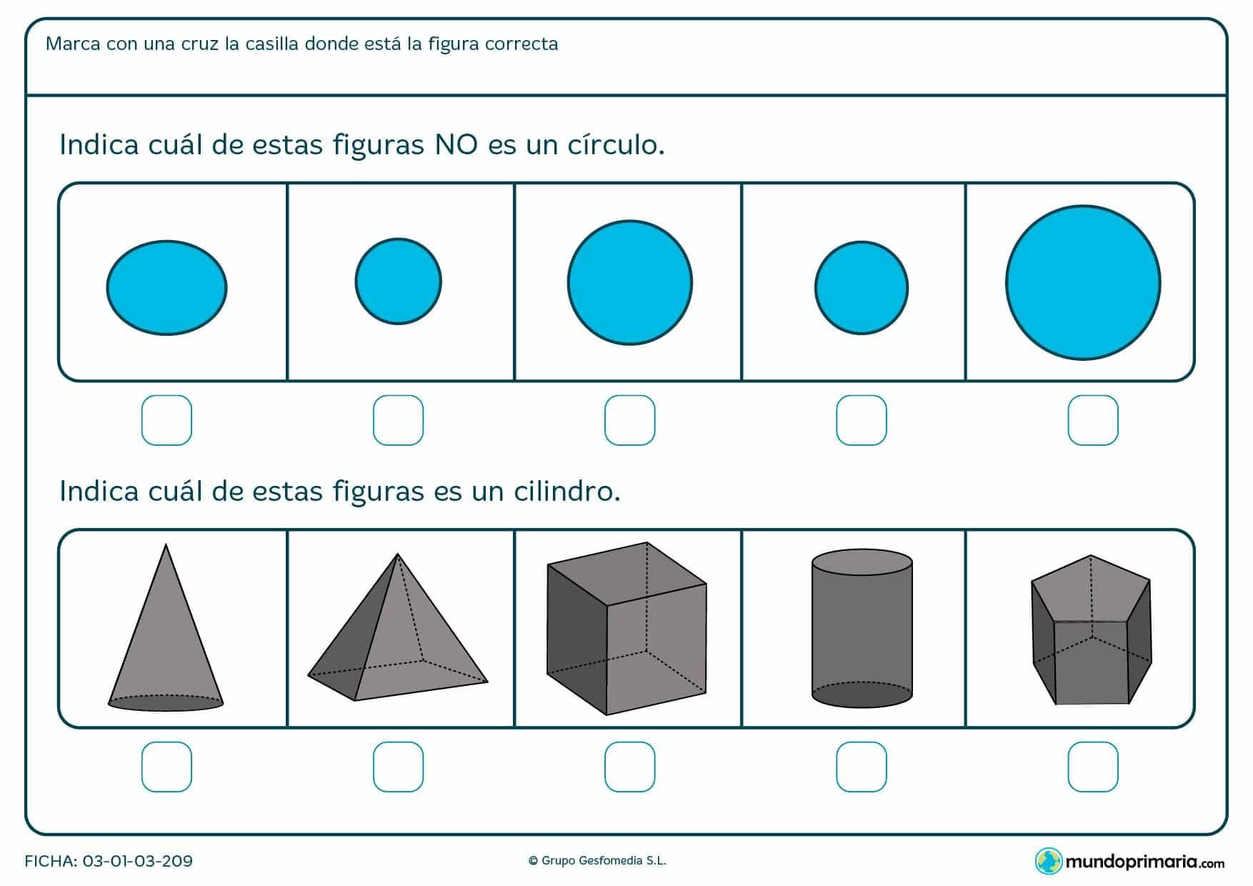 Geometría ejercicios primero primaria