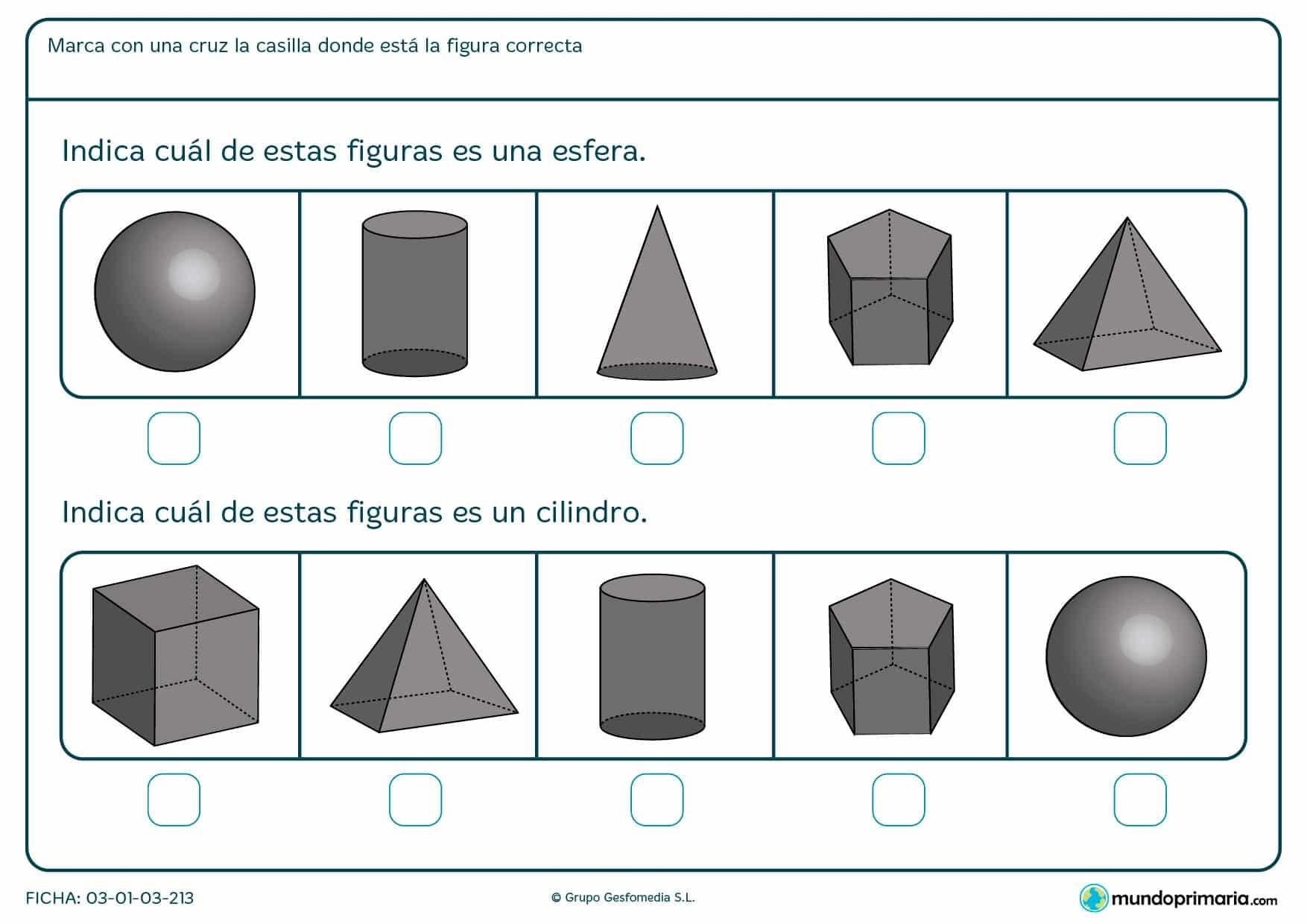 Ficha de columnas para niños de primero de primaria en el que se aprende a diferenciar distintas figuras.