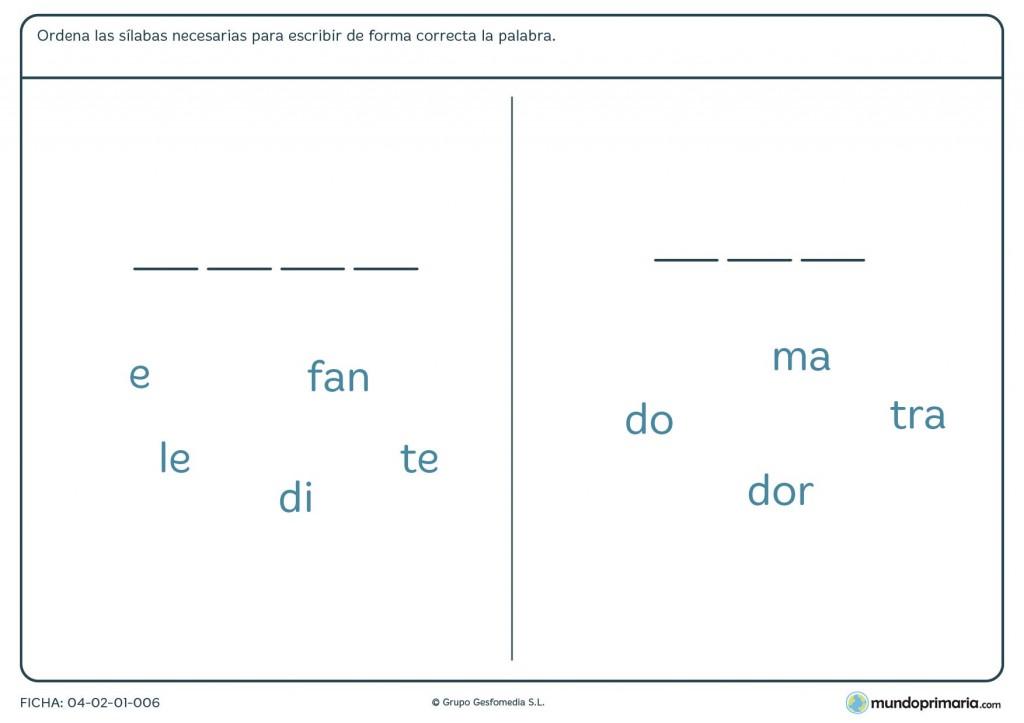 Ficha de completar con sílabas para primaria