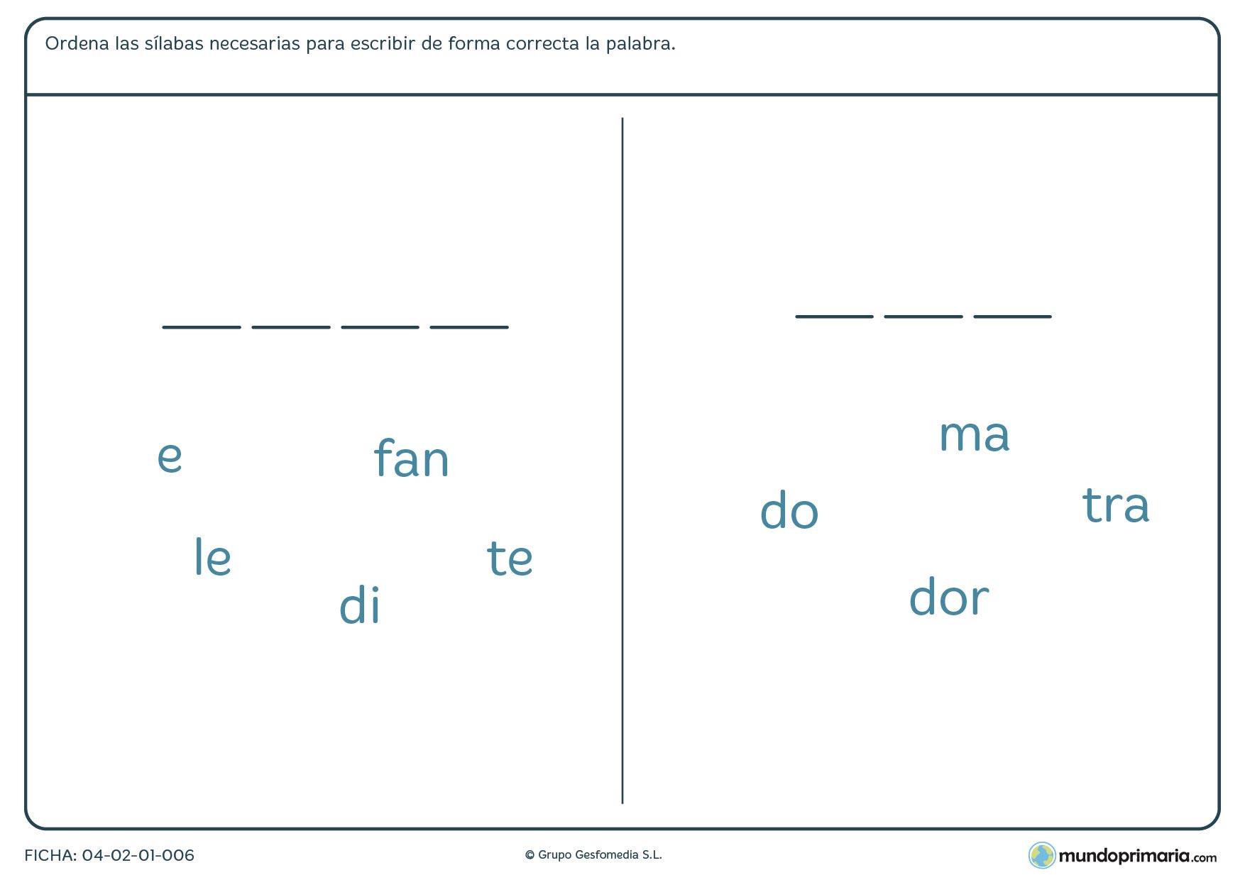 Repasa lengua de segundo de primaria con esta ficha con la que completar palabras mediante sílabas
