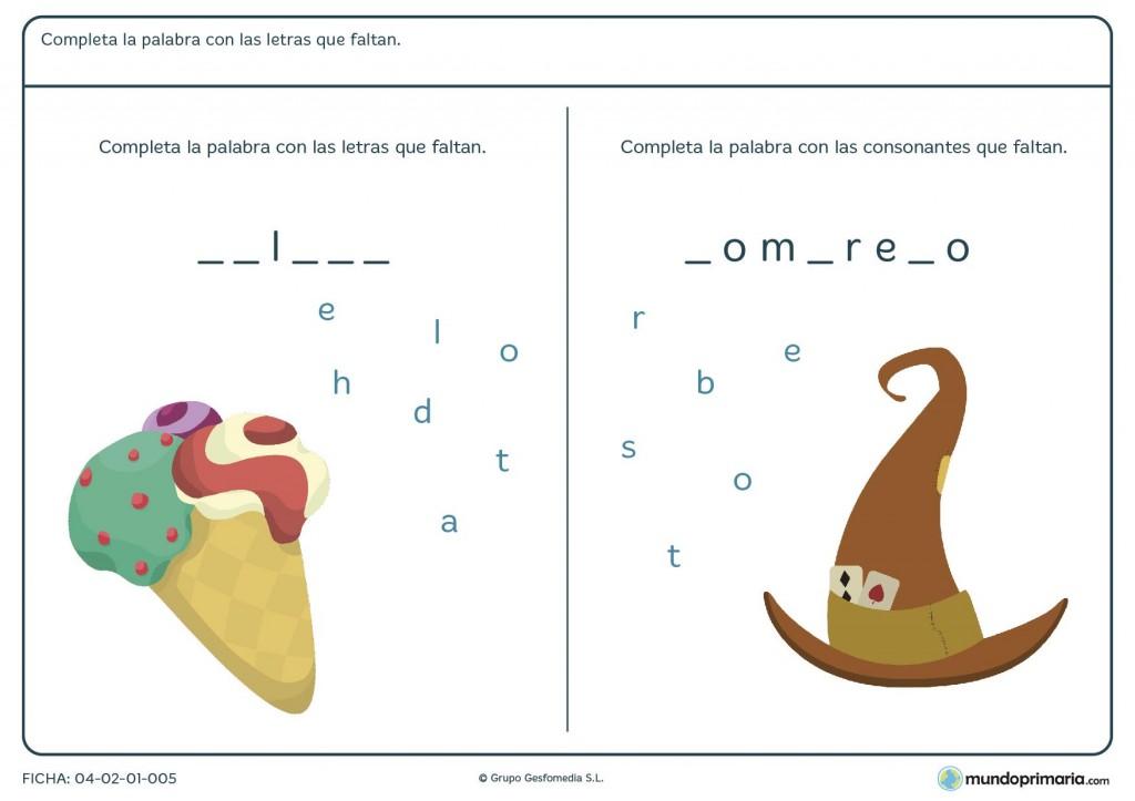 Ficha de completar palabras para primaria