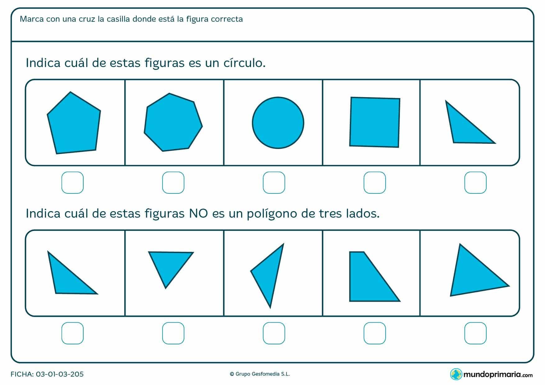 Ficha de construcción de tres lados para que los niños de primero de primaria identifiquen diferentes figuras geométricas y distingan el número de lados.