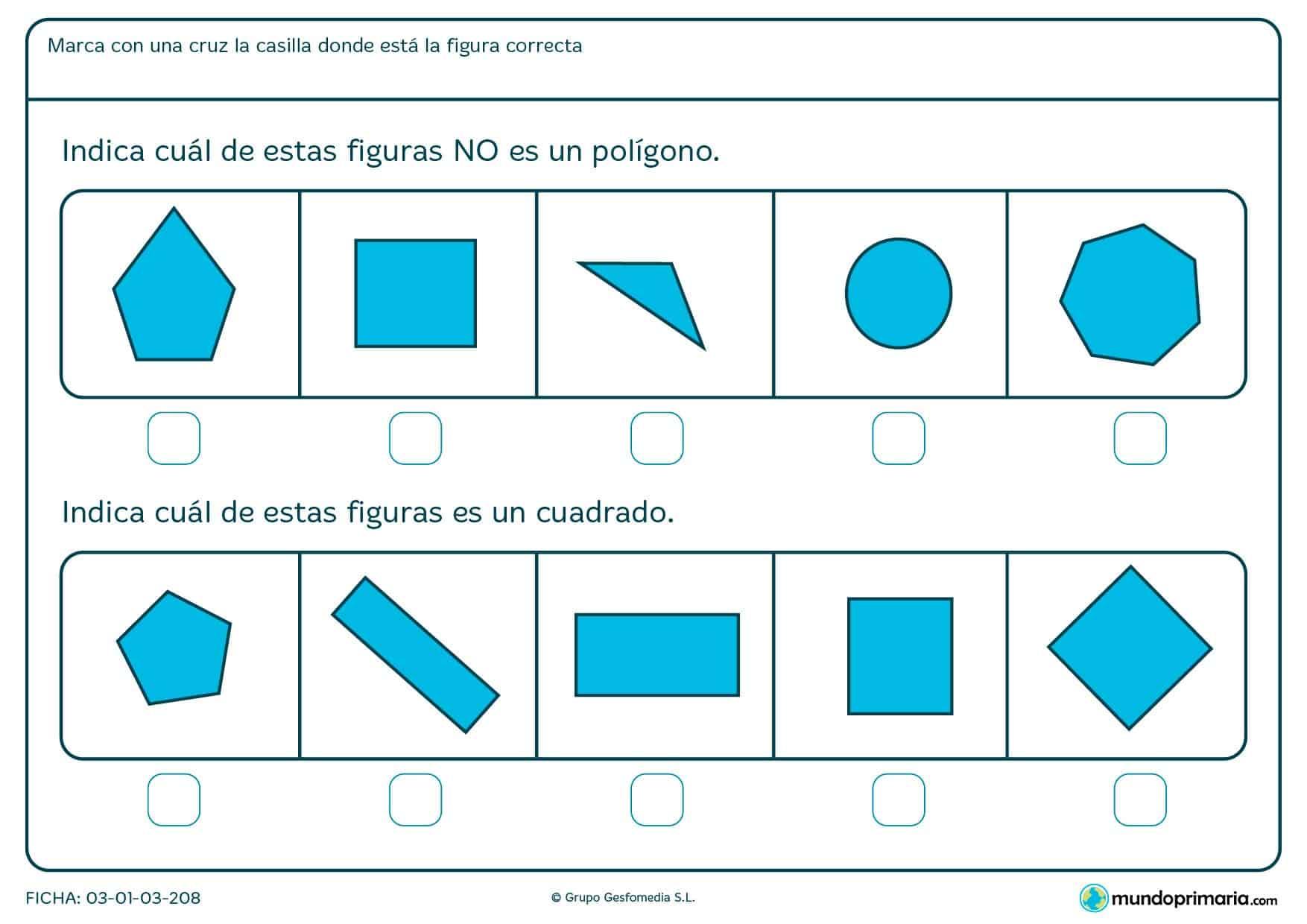 Ficha de cuadrilateros en el que los niños de primero de primaria aprenden a través de ejercicios prácticos a diferenciar figuras.
